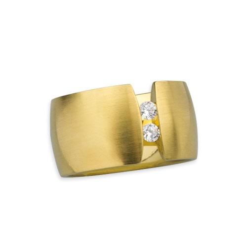 """Edelstahlring """"Blink"""" 13 mm gold matt mit zwei weißen Zirkonia"""