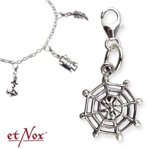 """etNox Charm Silberanhänger """"Spider Web"""" 925er Silber"""