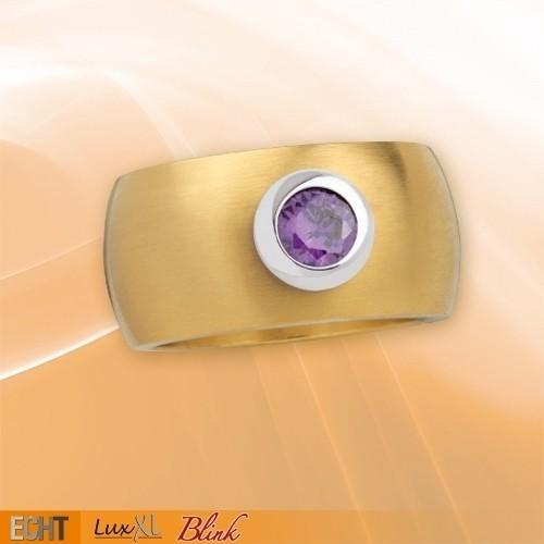 """LuxXL Edelstahlring 12 mm """"Blink"""" matt mit Beschichtung und violettem Zirkonia"""
