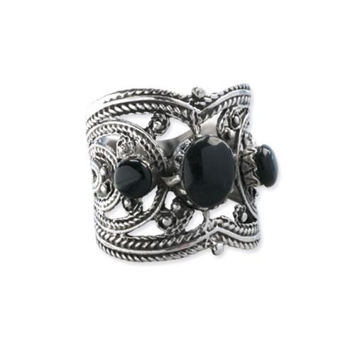"Ring ""Black Ornament"" Bronze versilbert"