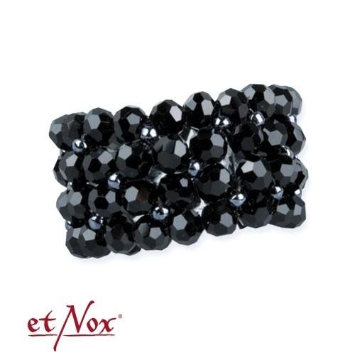 """etNox - Ring """"Wide Black Crystal"""" Glassteine"""