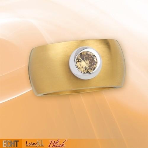 """LuxXL Edelstahlring 12 mm """"Blink"""" matt mit Beschichtung und champagnem Zirkonia"""