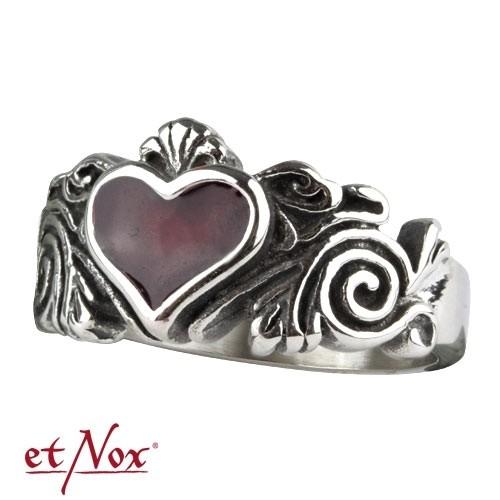 """etNox Edelstahlring """"Black Heart"""""""