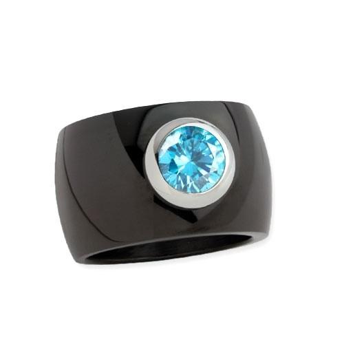 """LuxXL Edelstahlring 15 mm """"Blink"""" schwarz poliert mit blauem Zirkonia"""