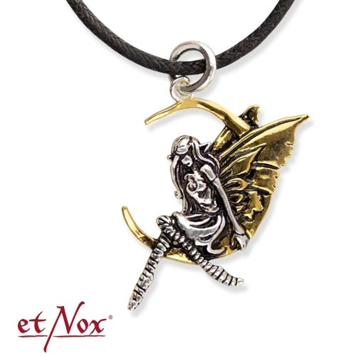 """etNox Anhänger """"Elfe im Mond"""" Bronze teilversilbert"""