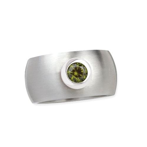 "LuxXL Edelstahlring 12 mm ""Blink"" matt mit grünem Zirkonia"