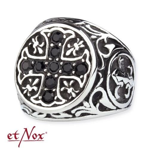 "etNox Ring ""Kristallkreuz"" Edelstahl"