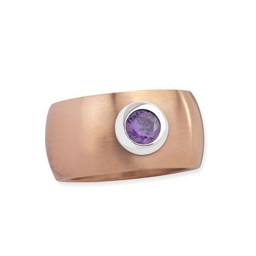 """LuxXL Edelstahlring 12 mm """"Blink"""" rotgold matt mit violettem Zirkonia"""