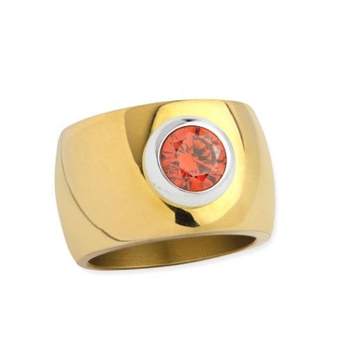 """LuxXL Edelstahlring 15 mm """"Blink"""" poliert mit Beschichtung und orangem Zirkonia"""