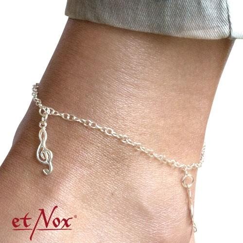 """etNox Silber-Fußkettchen """"Notenschlüssel"""""""