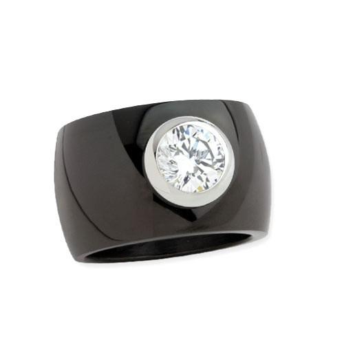 """LuxXL Edelstahlring 15 mm """"Blink"""" schwarz poliert mit weißem Zirkonia"""