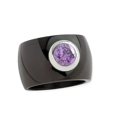 """LuxXL Edelstahlring 15 mm """"Blink"""" schwarz poliert mit violettem Zirkonia"""