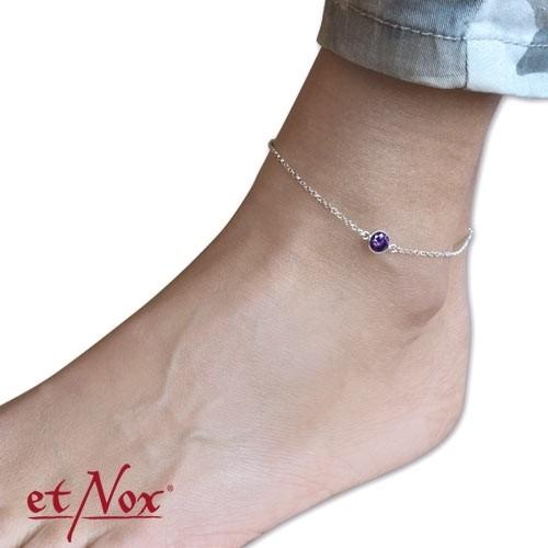 """etNox Silber-Fußkettchen """"Purple Circle"""" mit Zirkonia"""