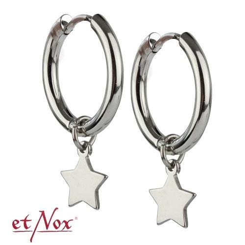"""etNox Edelstahl-Klappcreole """"Star Hoop"""" mit Stern"""