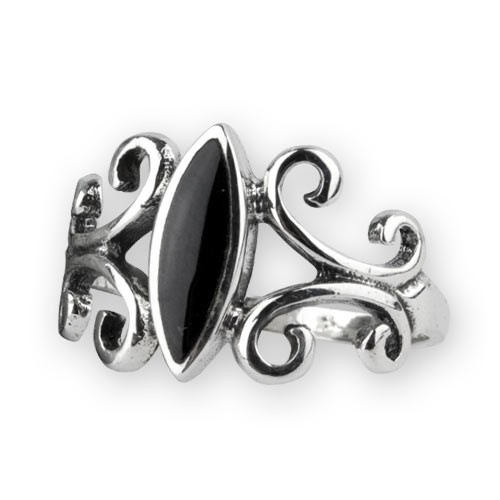 "etNox Silberring ""Black Ornament"" mit Onyx"