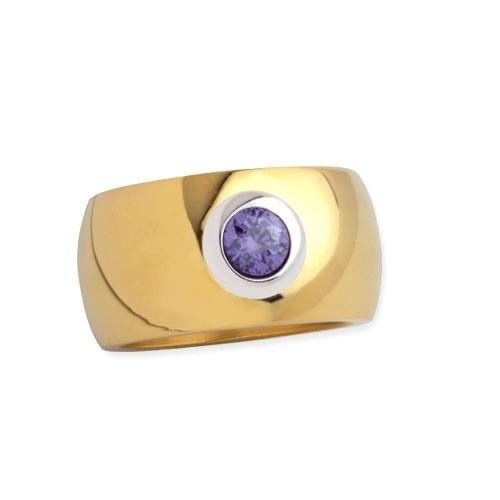 """LuxXL Edelstahlring 12 mm """"Blink"""" poliert mit Beschichtung und violettem Zirkonia"""