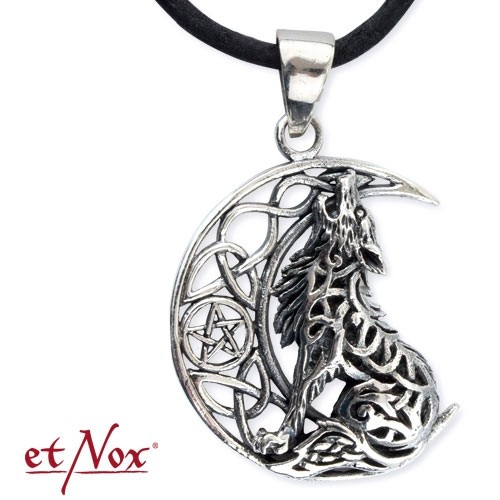 "etNox - Anhänger ""Howling Wolf in Moon"" 925 Silber"