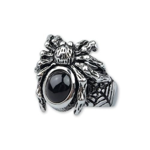 "etNox-Ring ""Black Spider"" Edelstahl mit Glas"