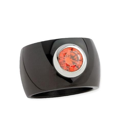 """LuxXL Edelstahlring 15 mm """"Blink"""" schwarz poliert mit orangem Zirkonia"""