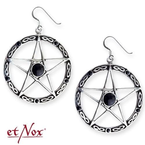 "etNox-Ohrringe ""Black Pentagramm"" Bronze versilbert"