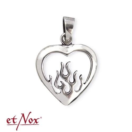 "etNox - Anhänger ""Flaming Heart"" 925 Silber"
