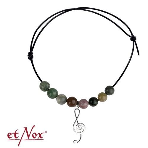 """etNox Armband """"Notenschlüssel"""" mit Silberelement und echten Steinen"""