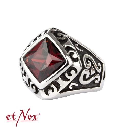 "etNox - Ring ""Red Square"" Edelstahl"