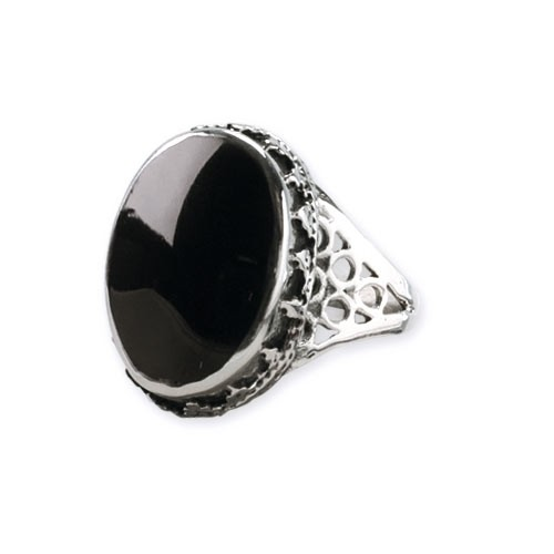 "Ring ""Big Onyx"" Bronze versilbert"