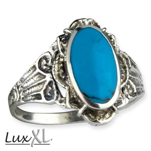 "LuXL Silberring ""Turquoise Ornament"" mit Türkis"