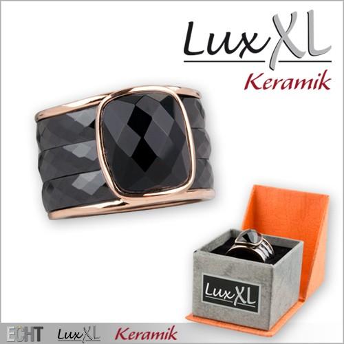 LuxXL-Keramikring schwarz mit Glasskristall