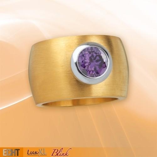 """LuxXL Edelstahlring 15 mm """"Blink"""" matt mit Beschichtung und violettem Zirkonia"""