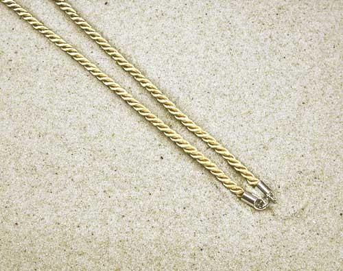 Seidenkordel gold mit Silberverschluss 60cm