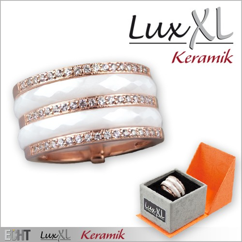 LuxXL-Keramikring weiß mit Zirkonia