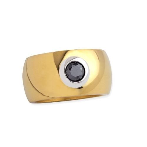 """LuxXL Edelstahlring 12 mm """"Blink"""" poliert mit Beschichtung und schwarzem Zirkonia"""