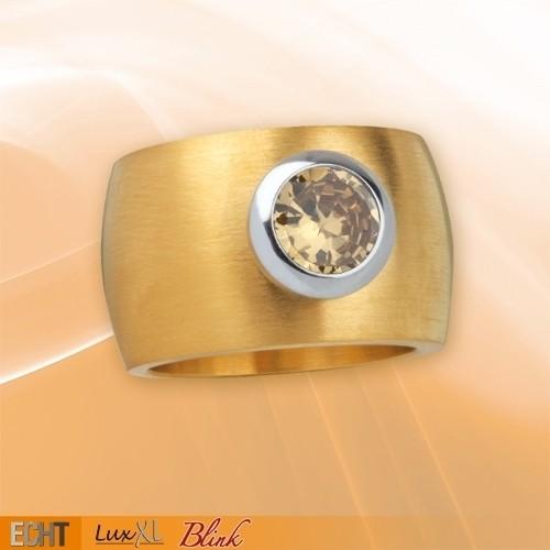 """LuxXL Edelstahlring 15 mm """"Blink"""" matt mit Beschichtung und champagnem Zirkonia"""