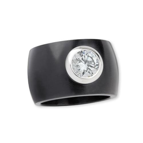 """LuxXL Edelstahlring 15 mm """"Blink"""" schwarz matt mit weißem Zirkonia"""