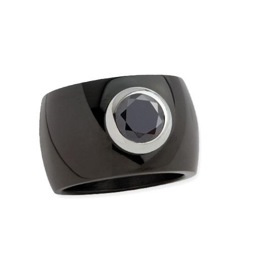 """LuxXL Edelstahlring 15 mm """"Blink"""" schwarz poliert mit schwarzem Zirkonia"""