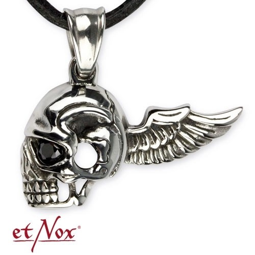 """etNox Anhänger """"Flying Skull"""" Edelstahl"""