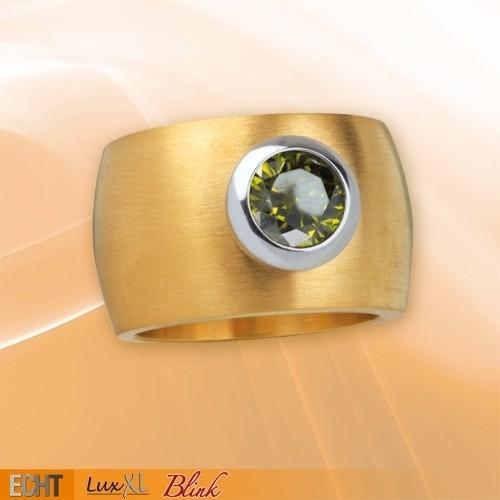 "LuxXL Edelstahlring 15 mm ""Blink"" matt mit Beschichtung und grünem Zirkonia"