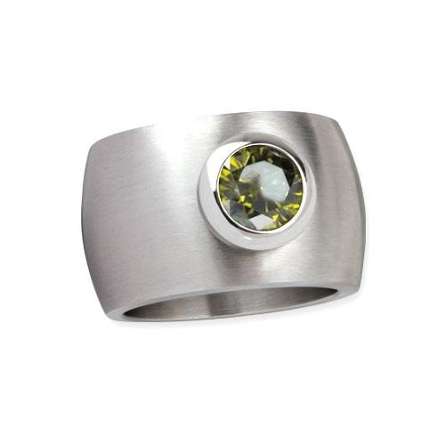"LuxXL Edelstahlring 15 mm ""Blink"" matt mit grünem Zirkonia"