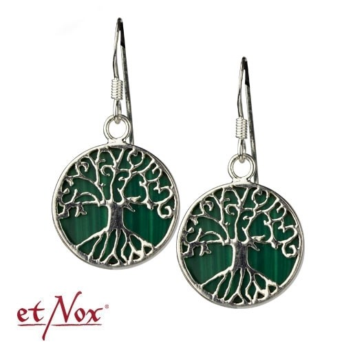 "etNox Ohrringe ""Lebensbaum"" 925 Silber mit Malachit"
