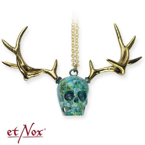 "etNox - Anhänger ""Skull with Deer Head"" goldfarben"