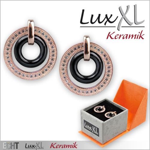 LuxXL-Keramikohrringe schwarz mit Zirkonia